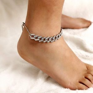 Jewelry - Cuban Link Rhinestone Silver plated Chain Anklet